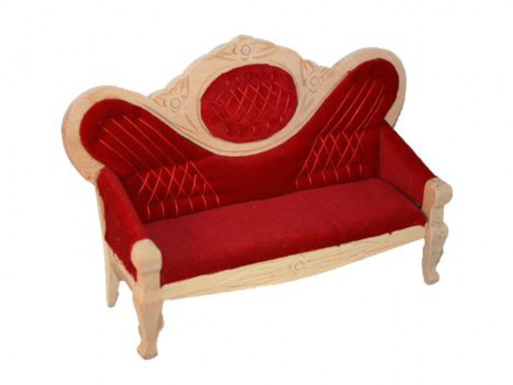 rotes viktorianisches salon sofa holz natur unlackiert sk spielwaren. Black Bedroom Furniture Sets. Home Design Ideas