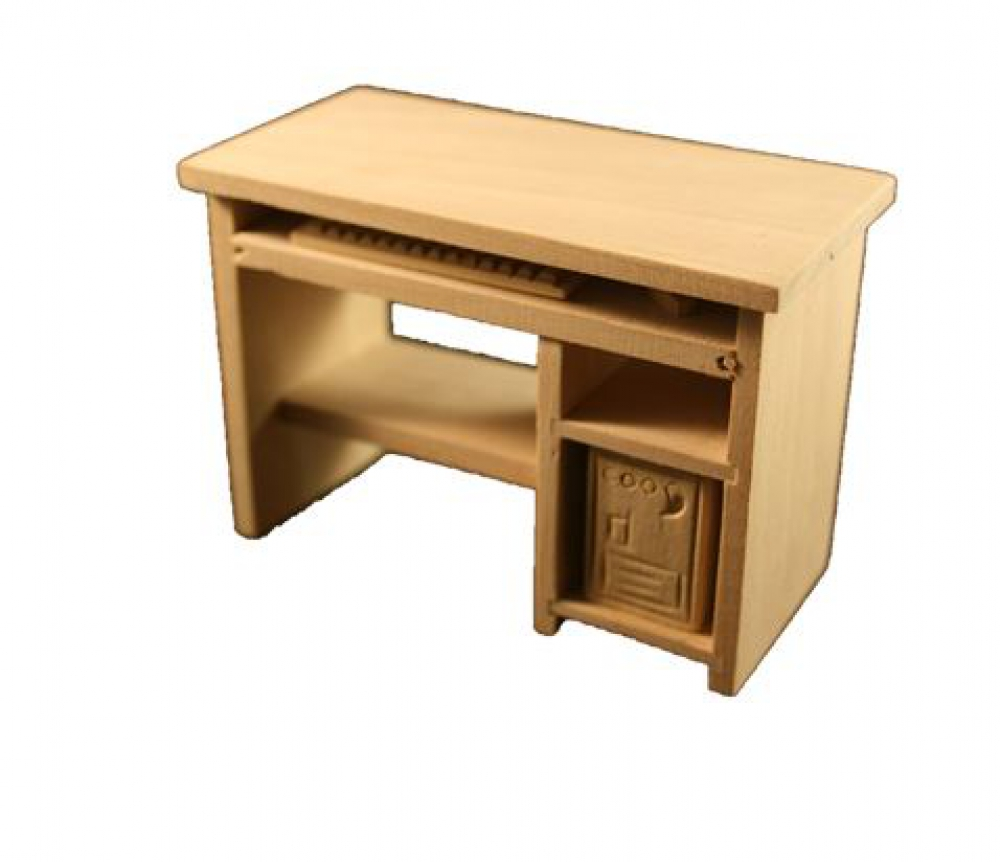 Pc tisch computertisch holz natur 1 12 sk spielwaren for Computertisch holz