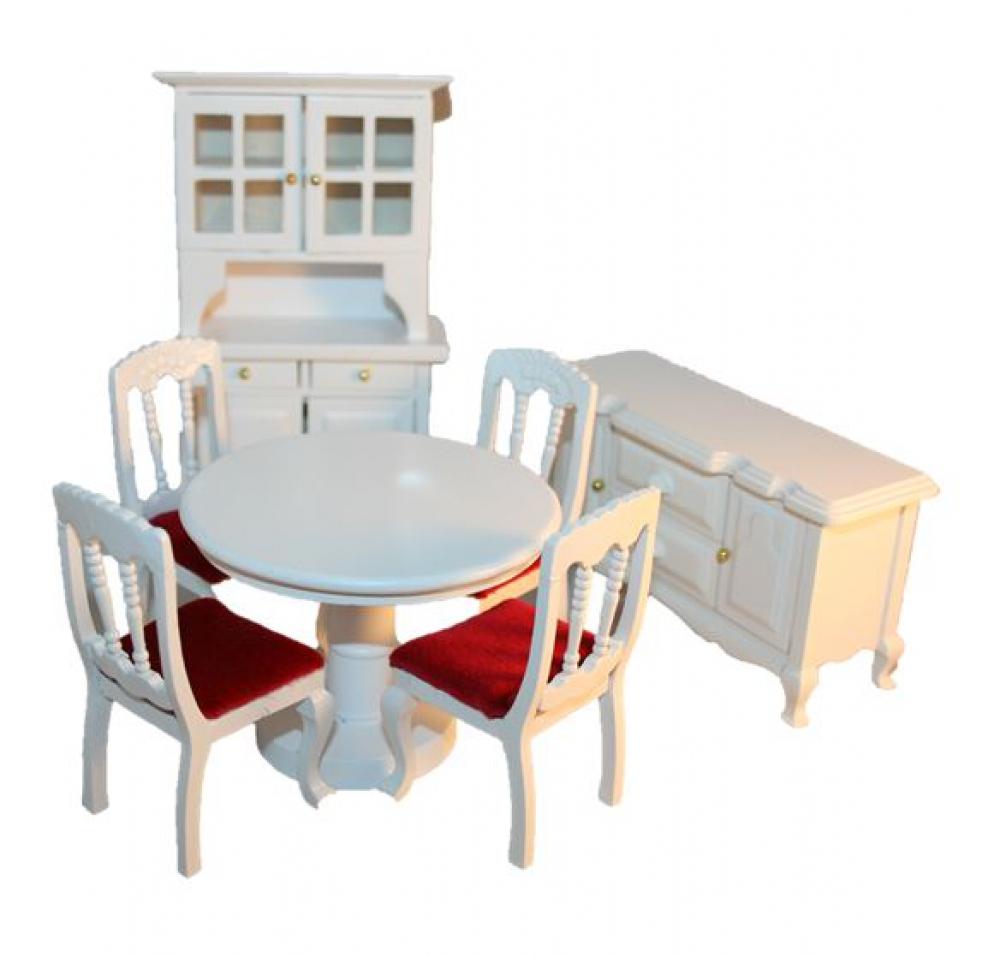 esszimmer speisezimmer holz wei lackiert 7 teilig 1 12 sk spielwaren. Black Bedroom Furniture Sets. Home Design Ideas
