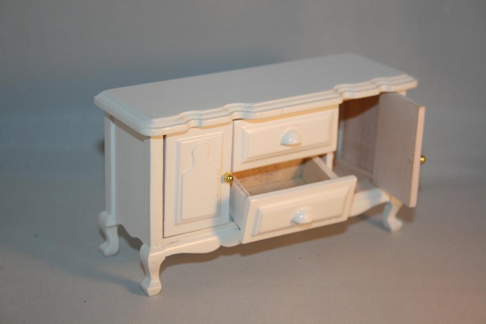 Esstisch Puppenstube ~ Puppenstube Miniatur  Esszimmer Speisezimmer Holz weiß lackiert 7teilig 112