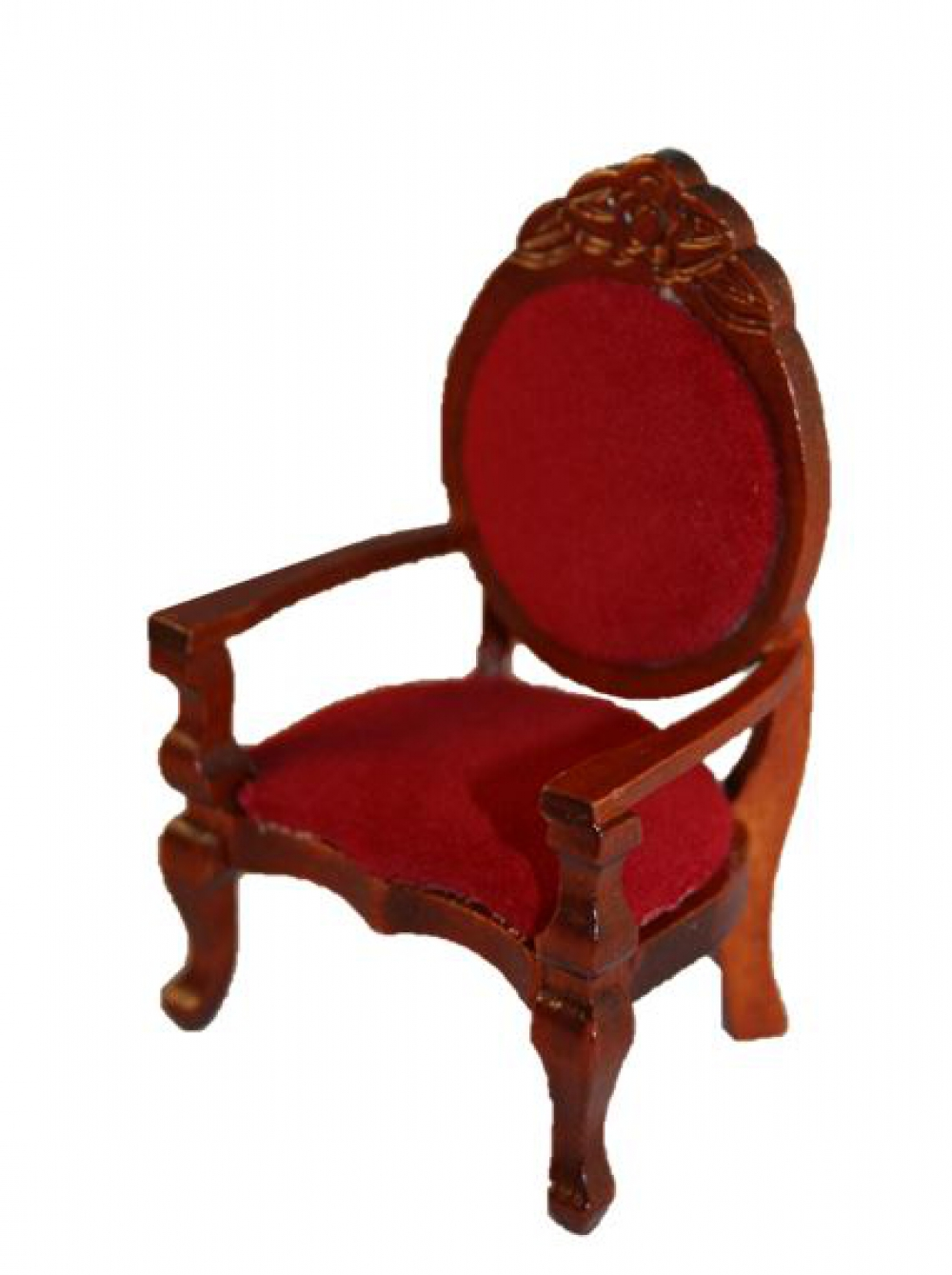 puppenstube miniatur stuhl 8cm mit rotem samt polster mahagoni ebay. Black Bedroom Furniture Sets. Home Design Ideas