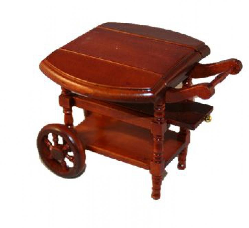 puppenstube miniatur teewagen 9x8x7cm mahagoni 1 12 ebay. Black Bedroom Furniture Sets. Home Design Ideas