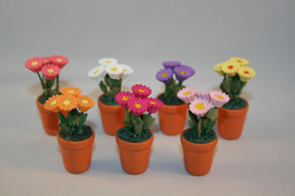 Puppenstube miniatur topfblume 4cm in 10 farben ebay for Topfblumen wohnzimmer