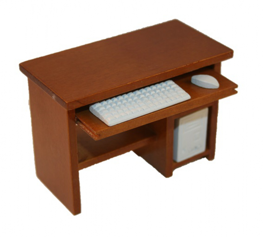 Pc tisch computertisch holz mittelbraun 1 12 sk spielwaren for Computertisch holz