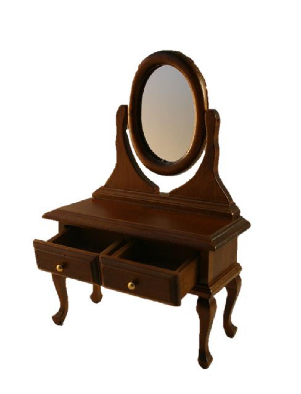 puppenstube miniatur schminktisch schminkkommode spiegeltisch antikbraun. Black Bedroom Furniture Sets. Home Design Ideas
